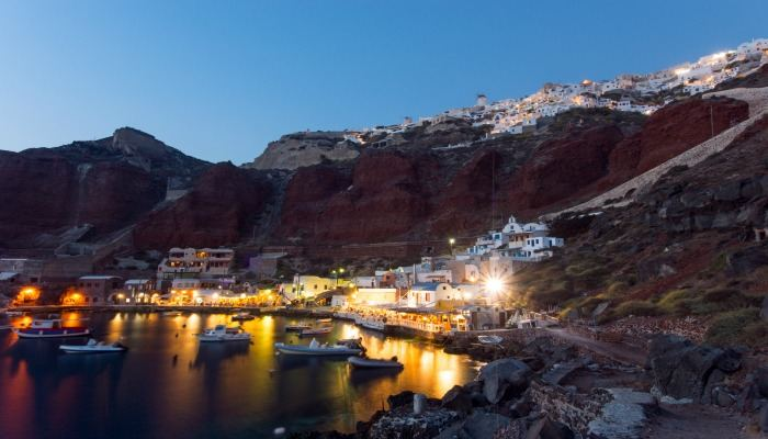 The port of Ammoudi on Santorini island with Oia up the hill